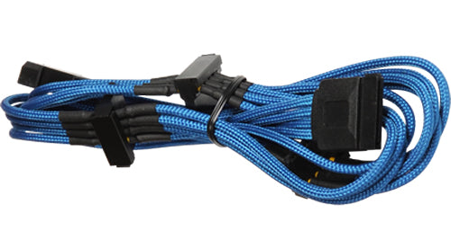 BattleBorn Molex to 4x SATA Braided Blue Cable