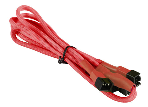 Image of BattleBorn 3-Pin Fan to 4 x 3-Pin Connector Cable (Braided Sleeve Red)