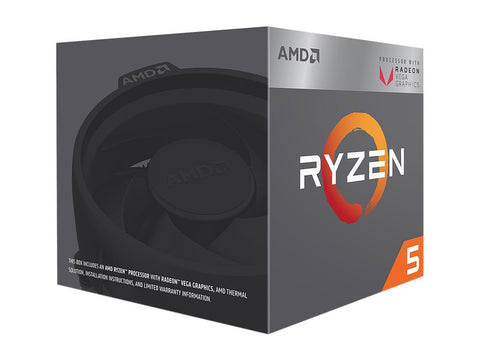 AMD RYZEN 5 2400G Quad-Core 3.6 GHz (3.9 GHz Turbo) Socket AM4 65W YD2400C5FBBOX Desktop Processor