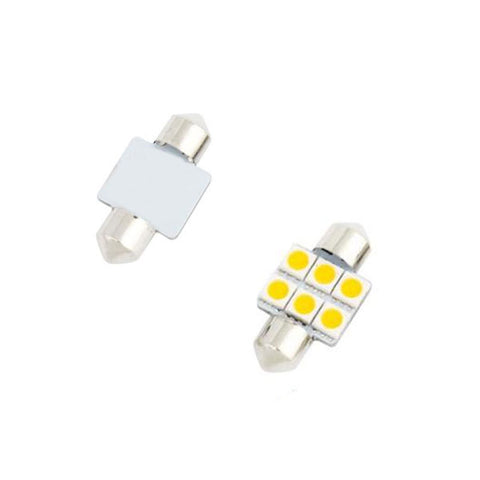 SwitchCarParts 31MM 6-LED 5050 SMD Festoon Dome Light Bulbs DC 12V - White