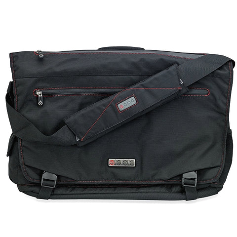 ECBC Trident Messenger Bag wAdjustable Shoulder Strap (Black) - Fits Up To 14in Notebooks