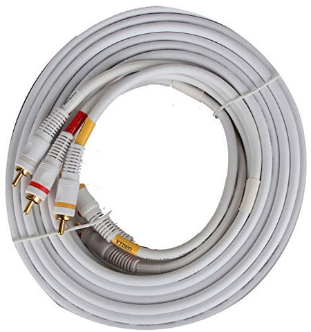Image of BattleBorn 25 Foot RCA Composite Video/Audio Cables - White