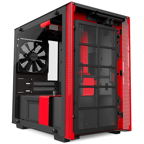 NZXT H200 Mini-ITX PC Gaming Case, Tempered Glass Panel - Black/Red