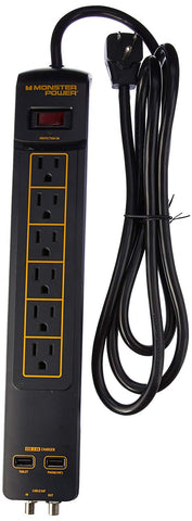 Monster Power Gold 600 AVU+ 1080 Joules 120V 6-Outlet Surge Protector w/2 USB 3.4A Charging Ports (Black)