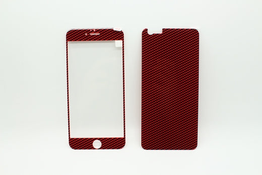 Carbon Fiber Tempered Glass Screen Protector Front + Back for the iPhone 6 plus - Red