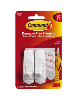 3M 3M 17001 Command 2x Plastic Hooks with 4x Adhesive Strips