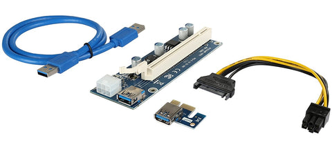 Rosewill Mining Riser Card, PCIe 16x to 1x Riser Adapter, USB 3.0 Extension Cable 60cm, PCI-E to SATA Cable