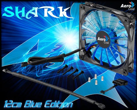 AeroCool Shark 120mm Blue Edition Case Fan with Variable Voltage