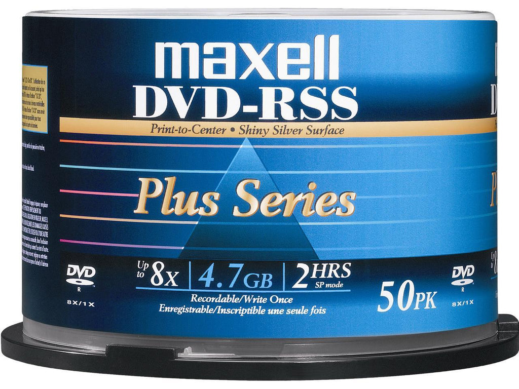 Maxell DVD-RSS Plus Series 4.7GB 8X DVD-R Silver Thermal Printable 50 Packs Disc - Model DVDRSSPLUS