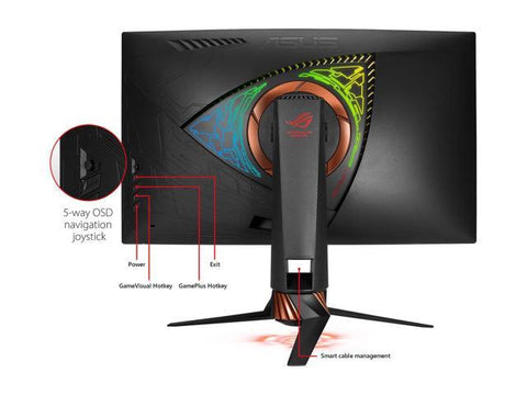 ASUS ROG Swift PG27VQ 27 1440p 1ms 165Hz DP HDMI G-SYNC Aura Sync Curved Gaming Monitor with Eye Care