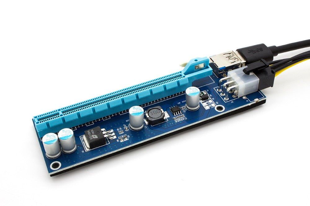 Monmount Pci-e 16x to 1x Powered Riser Adapter Card W/ Usb 3.0 Extension & 6-pin Molex to Sata Cable