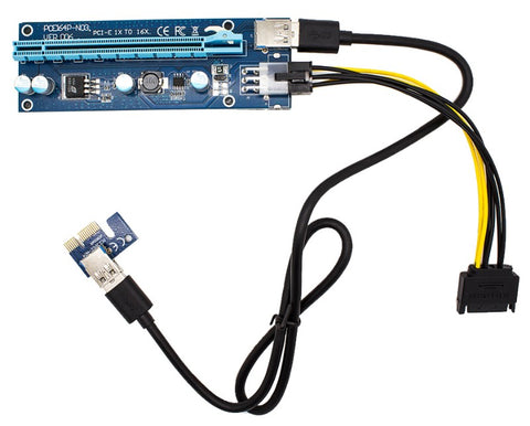 Image of Monmount Pci-e 16x to 1x Powered Riser Adapter Card W/ Usb 3.0 Extension & 6-pin Molex to Sata Cable