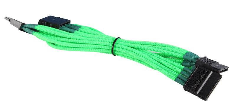 BattleBorn Molex to 3 x SATA Adapter Cable (Green Braided Sleeved)