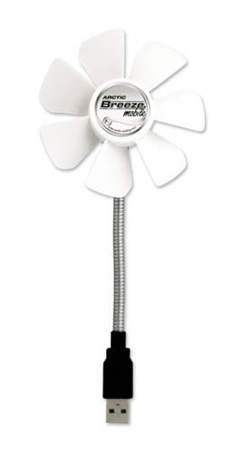 Arctic Breeze Mobile USB-Powered Portable Fan - White Color