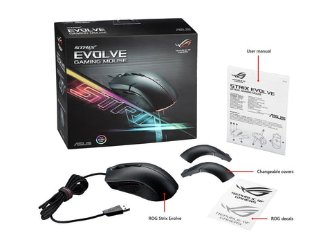 ASUS ROG Strix Evolve Aura RGB USB Wired Optical Ergonomic Ambidextrous Gaming Mouse
