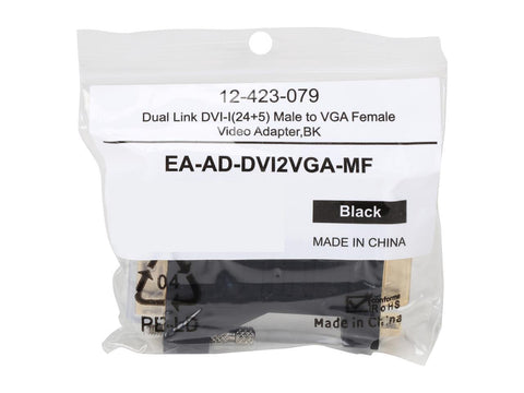 Coboc EA-AD-DVI2VGA-MF Black Color Dual Link DVI-I Male to VGA Female Analog Video Adapter,Gold Plated,M-F