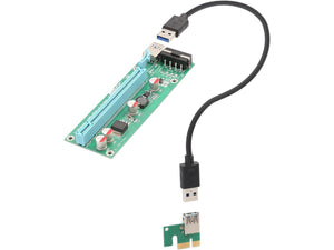 Syba PCI-E x1 to Powered x16 Riser Adapter Card USB 3.0 Extension Cable
