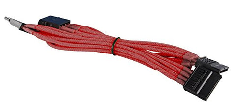 Image of BattleBorn Red Braided 4-Pin Molex to 3 x SATA Power Adapter Cable