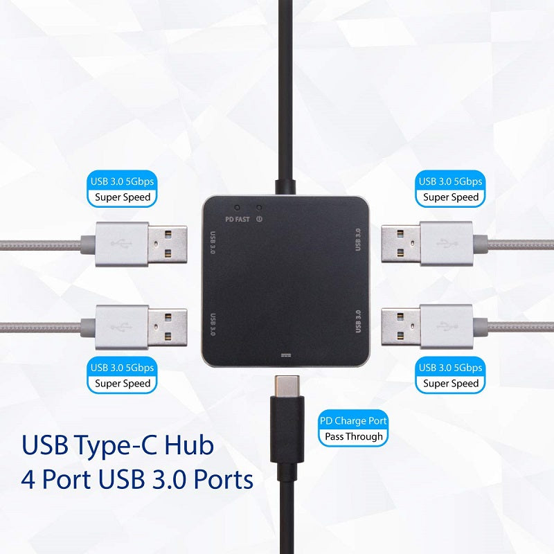 Syba USB 3.1 Gen 1 Type-C Mini Hub - USB 3.0 Type A Hub / USB-C PD Charge Port Pass Through