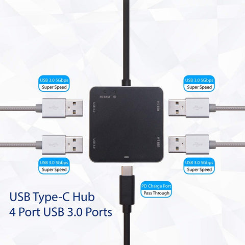 Image of Syba USB 3.1 Gen 1 Type-C Mini Hub - USB 3.0 Type A Hub / USB-C PD Charge Port Pass Through