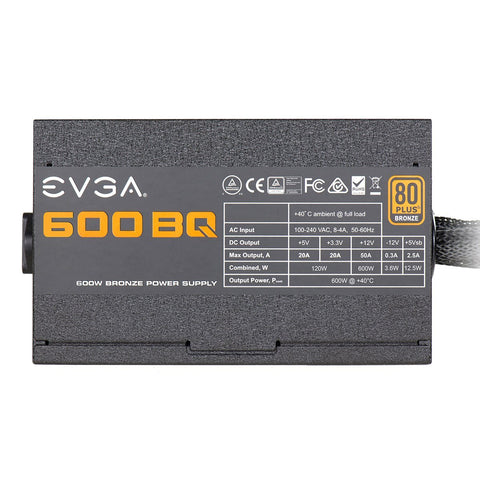 EVGA 600 BQ, 80+ BRONZE 600W, Semi Modular, FDB Fan, Power Supply 110-BQ-0600-K1