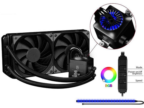 Image of DEEPCOOL Gamer Storm CAPTAIN 240EX RGB-AIO CPU Liquid Cooler 240mm RGB Waterblock And LED Strip