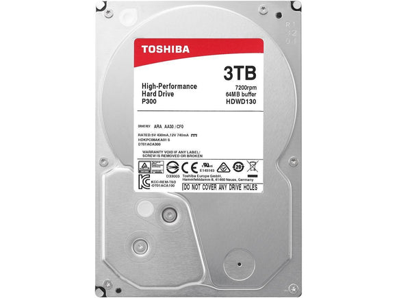 Toshiba HDWD130UZSVA  P300 3TB Desktop PC Internal Hard Drive 7200 RPM SATA 6Gb/s 64 MB Cache 3.5 inch -  (BULK)