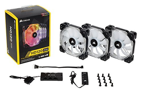 Image of Corsair CO-9050067-WW HD120 RGB LED High Performance 120mm PWM Fan - Three Pack with Controller