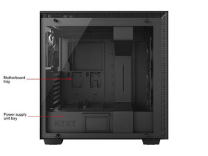 NZXT H700 - ATX Mid-Tower PC Gaming Case - Tempered Glass Panel - Enhanced Cable Management System - Water-Cooling Ready - Black