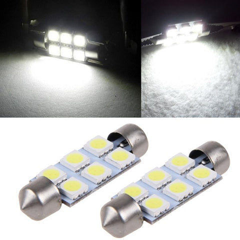Image of SwitchCarParts 42MM 6 LED 5050 SMD Festoon Dome Light Bulbs DC 12V - White