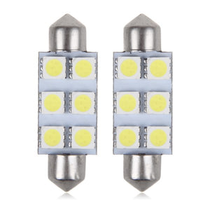 SwitchCarParts 42MM 6 LED 5050 SMD Festoon Dome Light Bulbs DC 12V - White