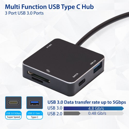 Syba USB 3.1 Gen 1 Type-C Mini USB 3.0 Hub and SD Card Reader