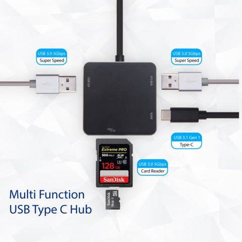 Image of Syba USB 3.1 Gen 1 Type-C Mini USB 3.0 Hub and SD Card Reader