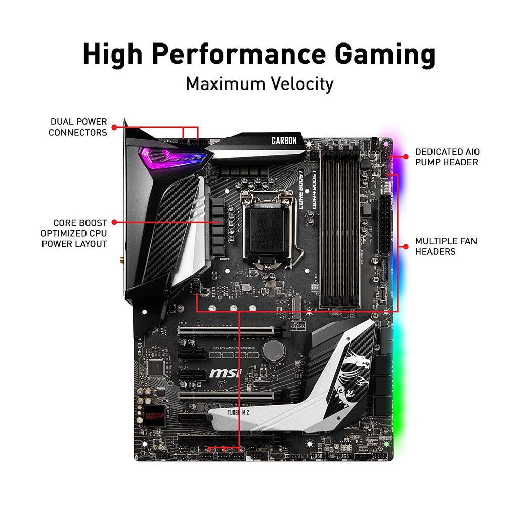 MSI MPG Z390 GAMING PRO CARBON AC LGA 1151 (300 Series) Intel Z390 HDMI SATA 6Gbs USB 3.1 ATX Intel Motherboard