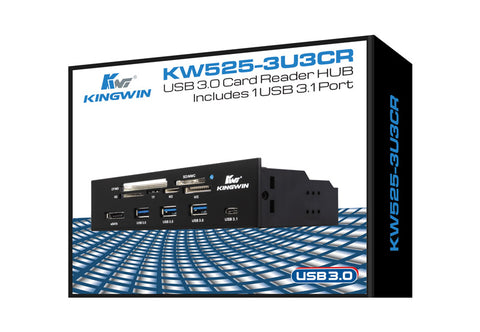 Image of Kingwin KW525-3U3CR USB 3.0 Card Reader Hub Includes 1 USB 3.1 Port