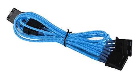 Image of BattleBorn Braided Molex to 3 x 4-Pin Converter Cable - Light Blue
