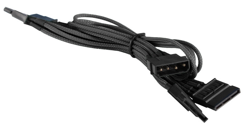 BattleBorn Black Braided Molex to 4 x SATA Cable