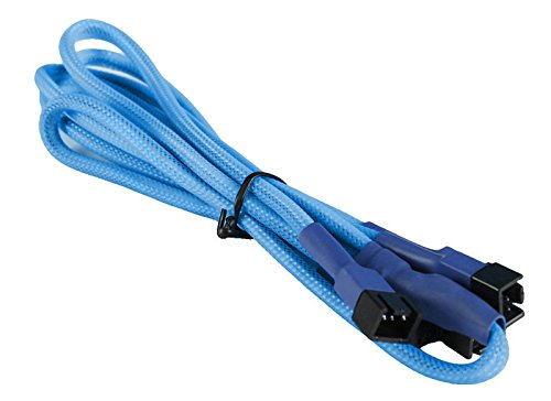 BattleBorn 3-Pin Fan to 4 x 3-Pin Cable - Braided Sleeve Light Blue