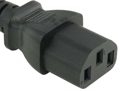 Image of 1ft PC Extension Cord, C13 to C14 3-Prong, Black