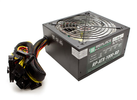 ReplacePower 1000 Watt ATX Power Supply Red LED