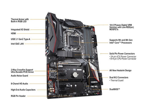 GIGABYTE Z390 GAMING X LGA 1151 (300 Series) Intel Z390 HDMI SATA 6Gbs USB 3.1 ATX Intel Motherboard