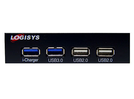 "Logisys FP302BK 4-Port USB 3.5"" Bay Hub with 2x USB 3.0 2x USB 2.0"