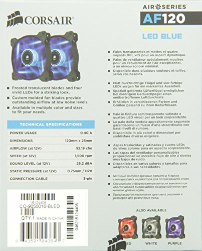 Corsair CO-9050016-BLED AF120 Air Series Blue LED QE 120mm Fan 2 Pack (NEW)