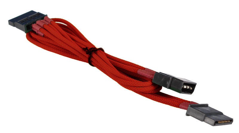 BattleBorn Molex to 2x SATA Cable - Red Braided Sleeved