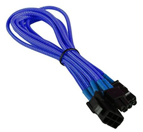 BattleBorn Light Blue 6Pin to 6+2Pin 30cm PCI-E GPU Braidedd Cable