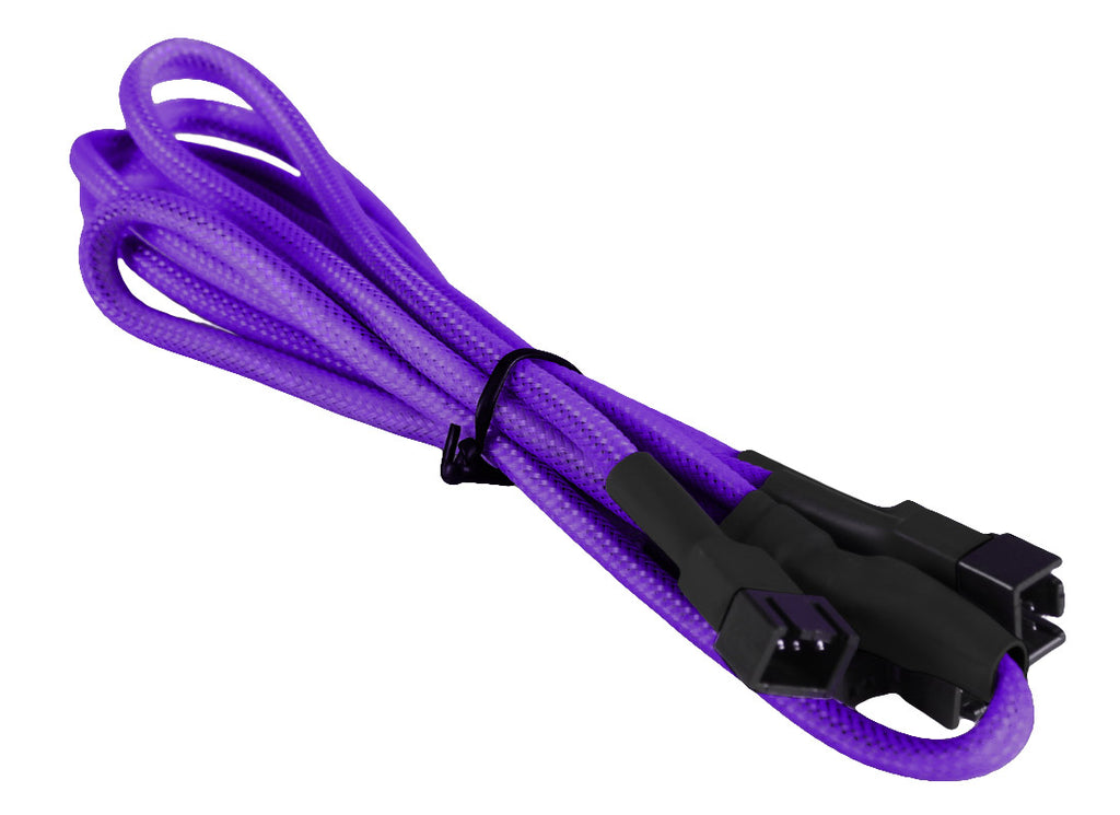 BattleBorn Purple Braided 3-Pin Fan to 4 x 3-Pin Fan Connector Cable