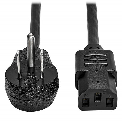 Image of Tripp Lite P006-003-15D 3 ft. AC Power Cord - (Right-Angle NEMA 5-15P to C13, 10A, 125V, 18 AWG, 3 ft. Black)