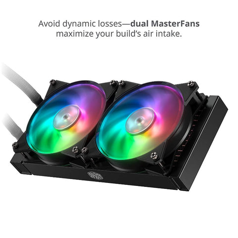 Cooler Master MasterLiquid ML240R Addressable RGB AIO CPU Liquid Cooler 28 Independently-Controlled LEDS, Robust Sleeved FEP Tubing