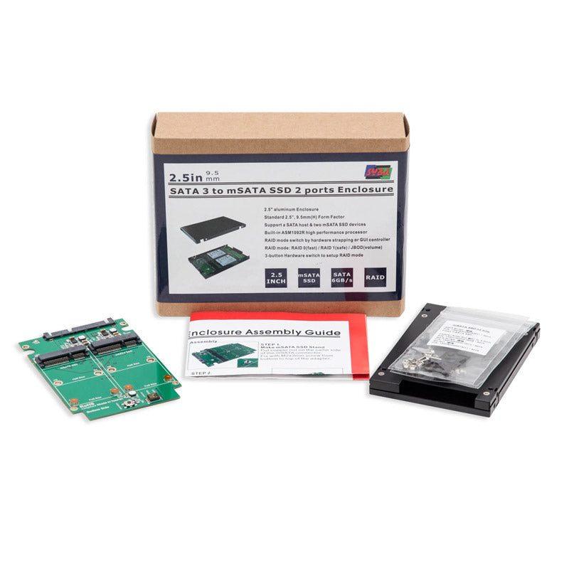 Syba SY-ADA40090 Dual mSATA SSD to SATA RAID Enclosure with Screw Set
