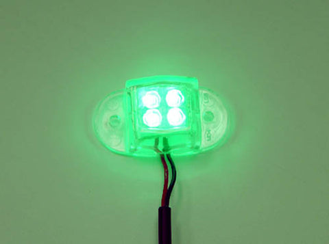 Image of Logisys MDLED4GN 12V Water Resistant Quad LED Light (Green)